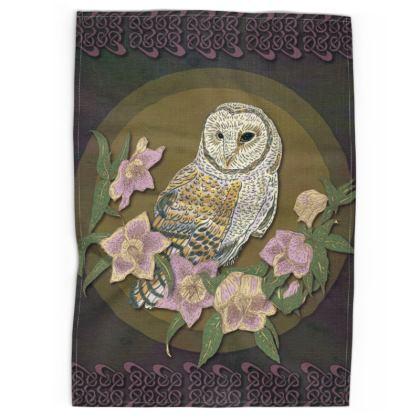 Celtic Owl Tea Towel