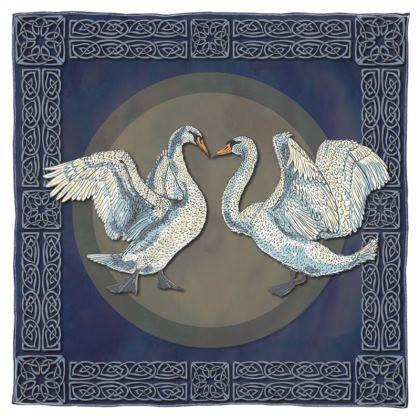 Celtic Swans Scarf, Wrap or Shawl