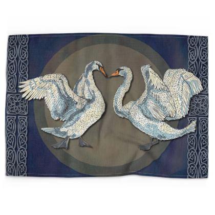 Celtic Swans Tea Towel