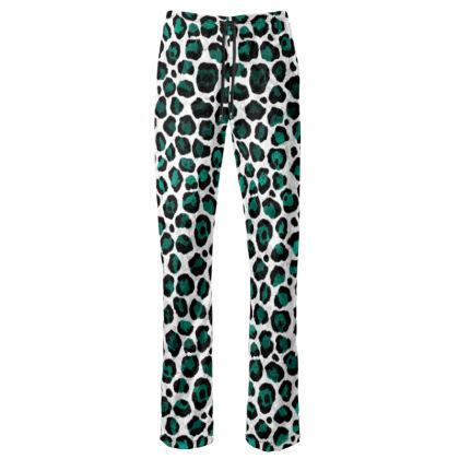 Teal Leopard Womens Trousers