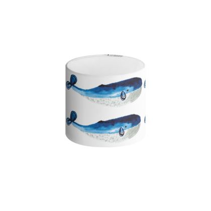 Drum Lamp Shade - Watercolour Blue Whales