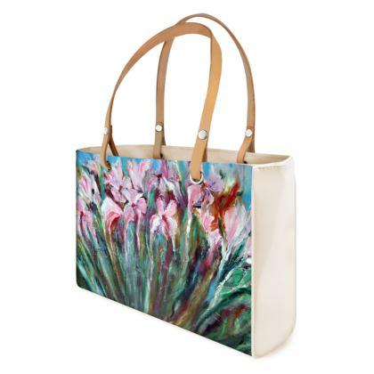 Pink Irises Handbag by Alison Gargett Artist and Designer