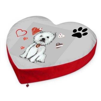 Westie Love Big Heart Cushion