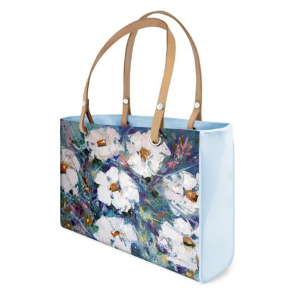 White Flowers Designer Handbag by Alison Gargett Artist and Designer