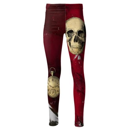 Steampunk Red High Waisted Leggings