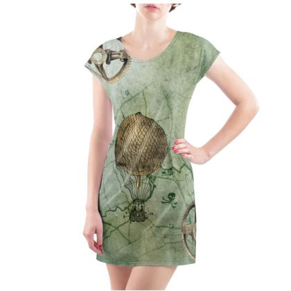 Steampunk Travelling Ladies Tunic T Shirt