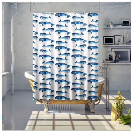 Shower Curtain  - Watercolour Blue Whale