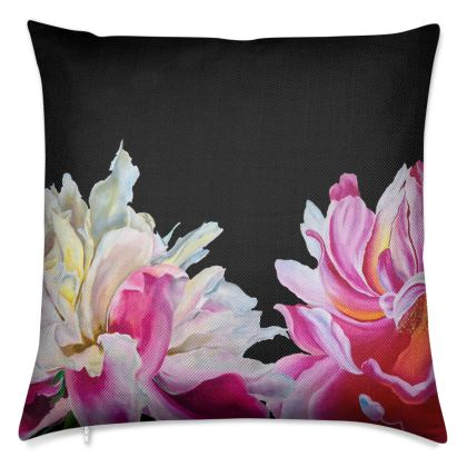 'Midnight Peonies' Luxury Cushion