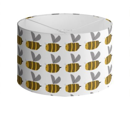 Drum Lamp Shade - Busy Bumble Bee