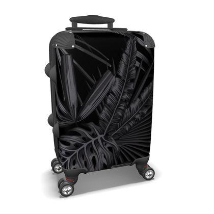 black exotic leaves suitcase