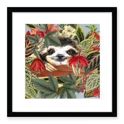 Peekaboo Sloth Framed Art Prints