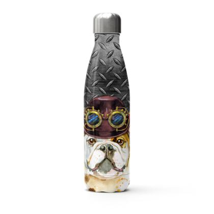 Steampunk Bulldog Stainless Steel Thermal Bottle
