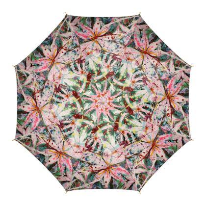 Pink Clematis Large Luxury Umbrella by Alison Gargett