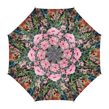 Pink Flowers Luxury Umbrella by Alison Gargett Artist and Designer