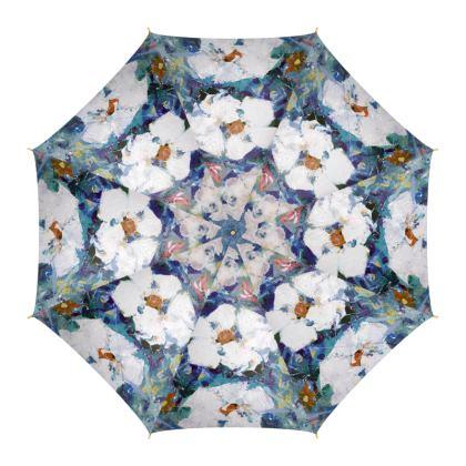 White Flowers on Blue Luxury Umbrella by Alison Gargett Artist and Designer