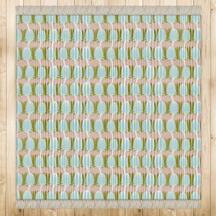 Teasel Strip Square Rug - khaki / Rose