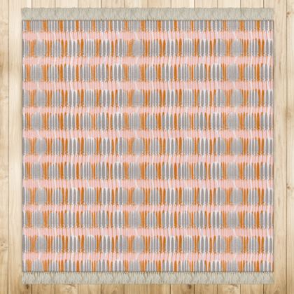 Teasel Stripe Square Rug - Rose / Rust