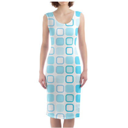 Retro Art Design Blue Bodycon Dress