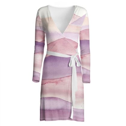 Abstract watercolor sunset in blushpink - wrap dress