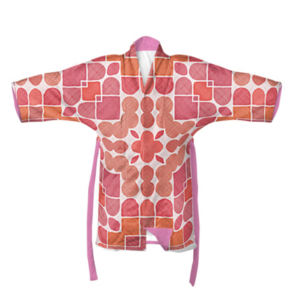 Retro Red and Pink spots and shapes patterned Kimono/Robe