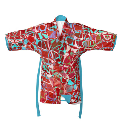 Red and Turquoise Patterned Kimono/Robe
