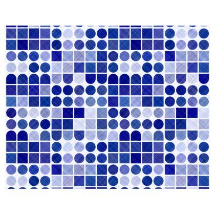 Retro Blue spots and shapes patterned Kimono/Robe