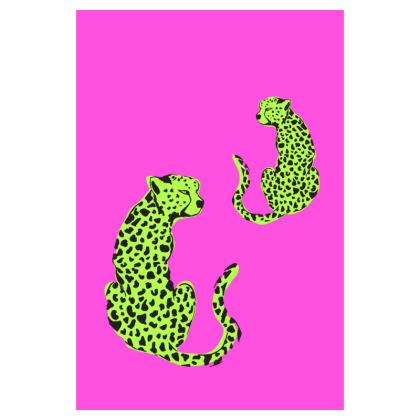 Luggage Tag in Pink & Green Leopard