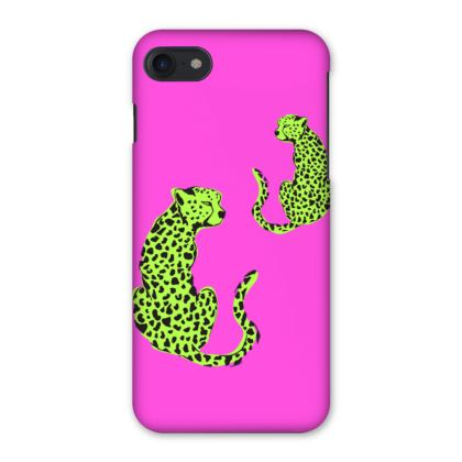 iPhone Case in Pink & Green Leopard