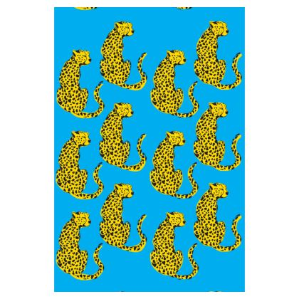 Luggage Tag in Blue & Yellow Leopard