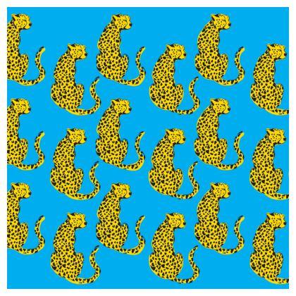 Cushion in Blue & Yellow Leopard