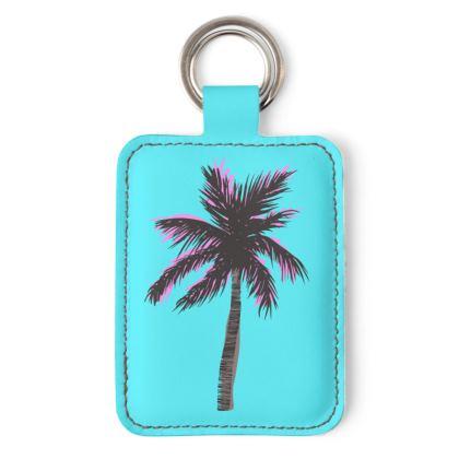 Keyring in Blue Palm