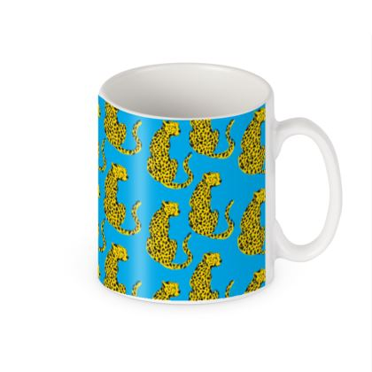 Mug in Blue & Yellow Leopard Print