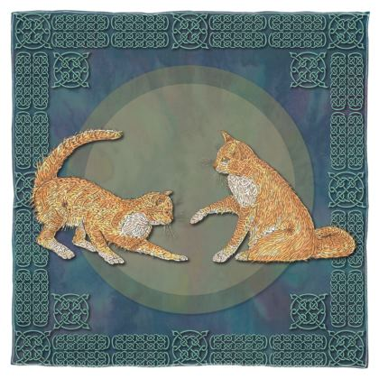 Celtic Cats Scarf, Shawl or Wrap