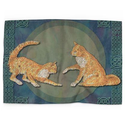 Celtic Cats Tea Towel