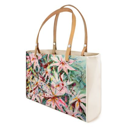 Original, Pink Clematis Designer Handbag by Alison Gargett Artist and Designer