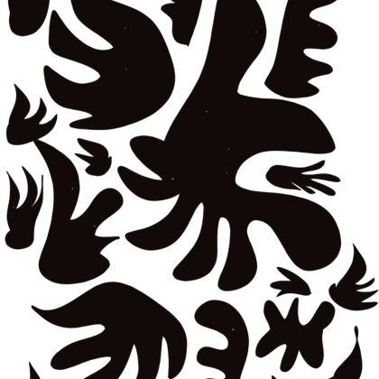 African Minimal Art Pattern Black and White