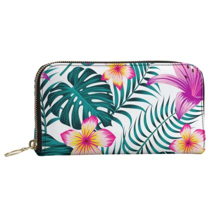 exotic flowers Leather Zip Purse