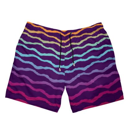 Wavy Lines of Color Swimming Shorts