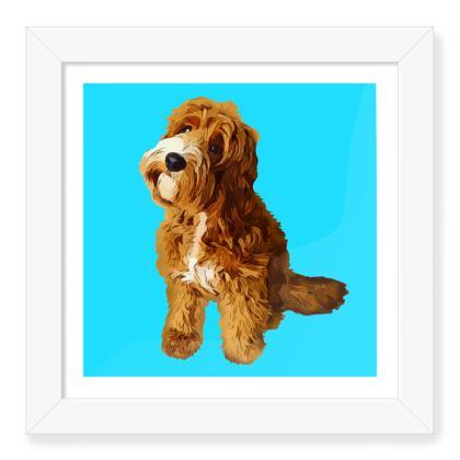 Aqua with red dog Framed Art Prints