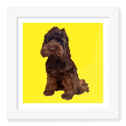 Yellow with chocolate dog Framed Art Prints