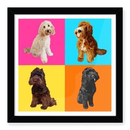 Multi colour abstract dog Framed Art Prints