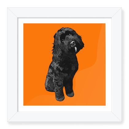ORANGE black dog Framed Art Prints