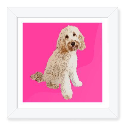 Pink abstract dog Framed Art Prints