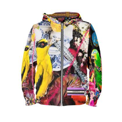 #Hoodie #ninibing34 size L tropical birds & flowers