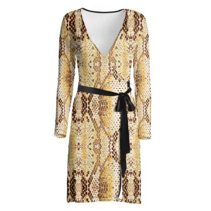 Golden Snake Wrap Dress