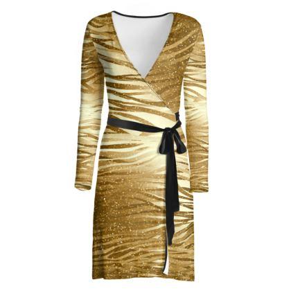 The Golden Zebra Wrap Dress