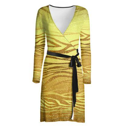 Golden Stripes Wrap Dress