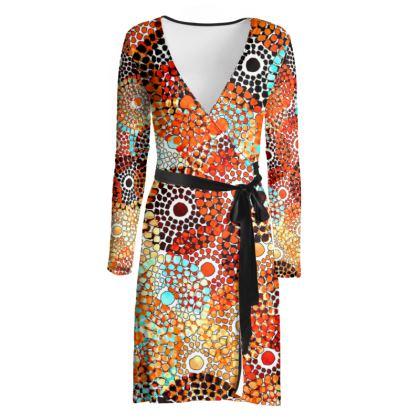 Tribal Funk Wrap Dress