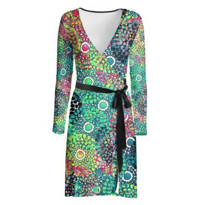 Circles of Color Wrap Dress