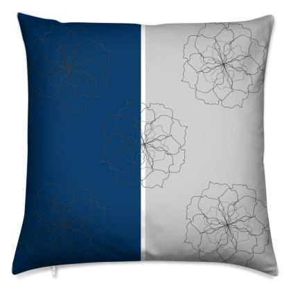 Blue and grey rose striped cushion